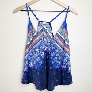FREE PEOPLE | Floral Mixed Pattern Swing Tank Top